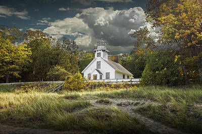 Photograph - Old Mission Point Lighthouse In Early Autumn by Randall Nyhof