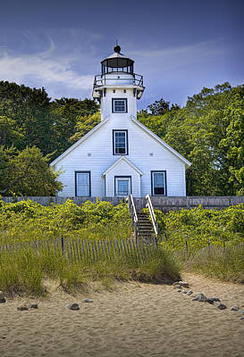 Old Mission Point Lighthouse In Grand Traverse Bay Michigan Number 2 Print by Randall Nyhof