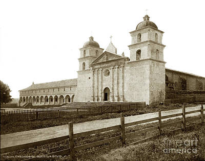Photograph - Old Mission Santa Barbara, Cal Circa 1895 by California Views Mr Pat Hathaway Archives