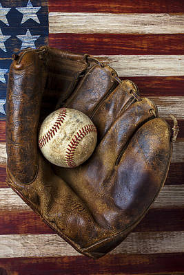 Baseball Art Photograph - Old Mitt And Baseball by Garry Gay