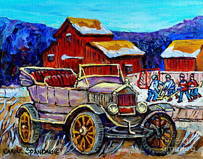 Red Barn In Winter Painting - Old Model T Car Red Barns Canadian Winter Landscapes Outdoor Hockey Rink Paintings Carole Spandau by Carole Spandau