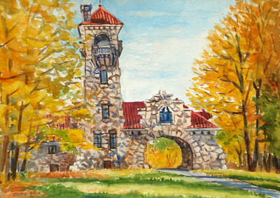 Tourist Site Painting - Old Mohonk Gatehouse In Fall by Mira Fink