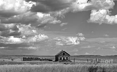 Photograph - Old Montana Homestead Bw by Chalet Roome-Rigdon