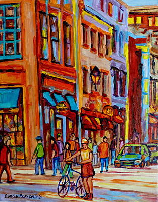 Rue Notre Dame Painting - Old Montreal Bike Path by Carole Spandau