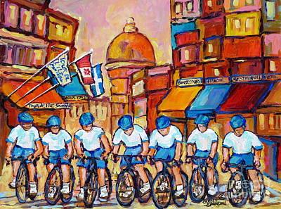 Painting - Old Montreal Bike Race Tour De L'ile Canadian Scene Painting Montreal Art Carole Spandau             by Carole Spandau