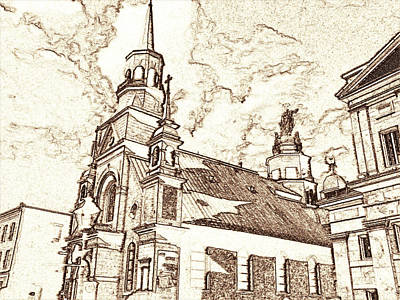 Montreal Cityscapes Drawing - Old Montreal Chapel - Pencil by Art America Gallery Peter Potter