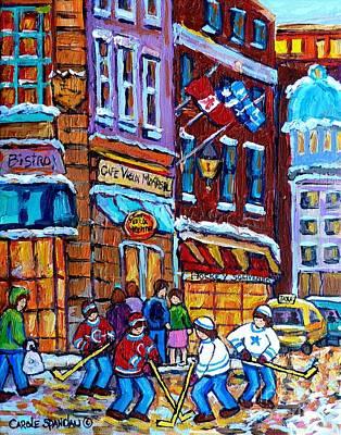 Photograph - Old Montreal Landmark Bonsecours Winterscene Painting Far Sale Street Hockey C Spandau Quebec Art    by Carole Spandau