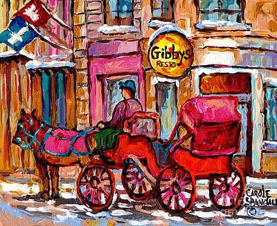 Painting - Old Montreal Landmark Painting Gibby's Restaurant Caleche Winter Scene Canadian Art Carole Spandau by Carole Spandau