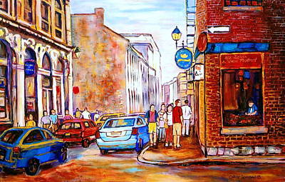 Old Montreal Paintings Calvet House And Restaurants Print by Carole Spandau