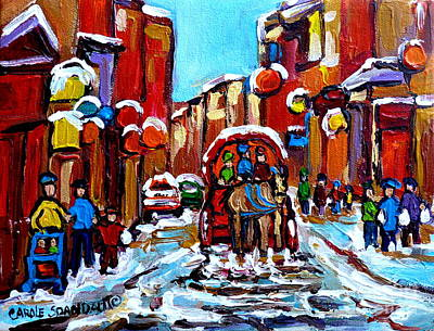 City Scenes Painting - Old Montreal Paintings Quebec Caleche Winter Scenes Canadian Art Carole Spandau                      by Carole Spandau