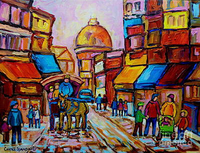 Montreal Street Life Painting - Old Montreal Rue St. Paul And Bonsecour Market by Carole Spandau