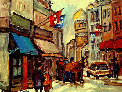 Montreal Winterscenes Painting - Old Montreal Rue St Paul Winterscene With Caleche  by Carole Spandau