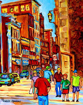 Montreal Street Life Painting - Old Montreal Shops And Restaurants   by Carole Spandau