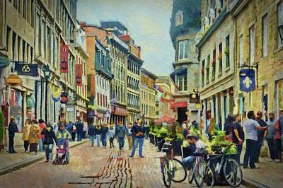 Montreal Buildings Digital Art - Old Montreal Street Scene by Jeffrey Kolker