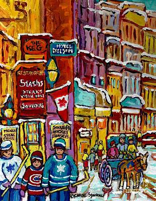 Painting - Old Montreal Vieux Port Famous Restaurants Winter Scene Canadian Art Caleche Hockey Carole Spandau   by Carole Spandau