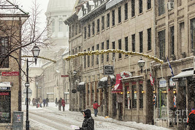 Montreal Photograph - Old Montreal Winter Cityscape by Csaba Demzse