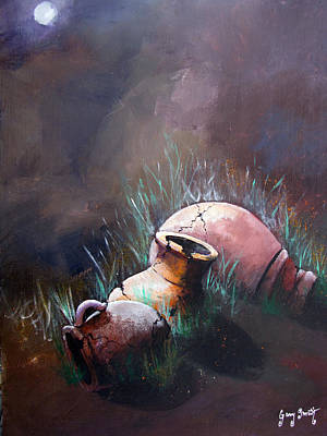 Painting - Old Moon Old Pots by Gary Smith