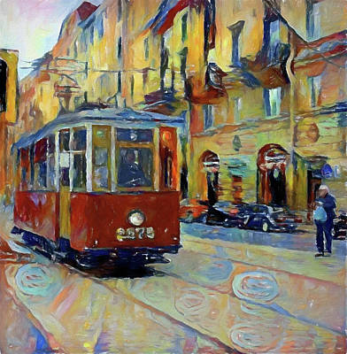 Digital Art - Old Moscow Street Car by Yury Malkov