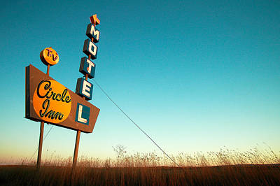 Sign Photograph - Old Motel Neon by Todd Klassy