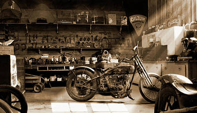 Print Photograph - Old Motorcycle Shop by Mike McGlothlen