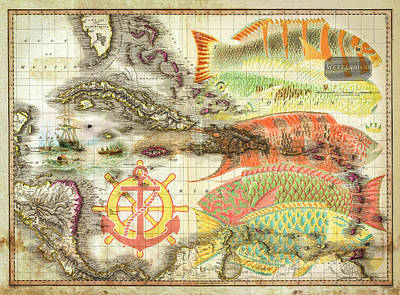 Photograph - Old Nautical Reef Map by Debra and Dave Vanderlaan