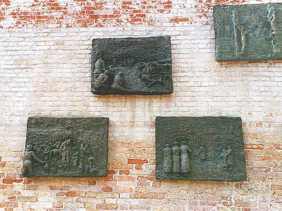 Photograph - Old Nazi Occupation Plques On Synagogue Wall In The Old Jewish Ghetto - Venice, Italy  Venice, Italy by Merton Allen