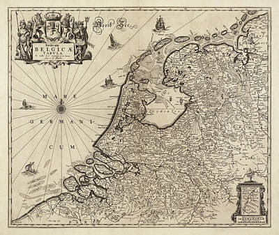Drawing - Old Netherlands Map By Hugo Allardt - 1665 by Blue Monocle