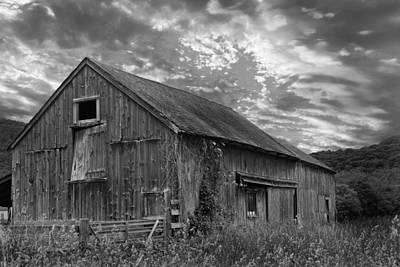 Photograph - Old New England Barn 2013 Bw by Bill Wakeley