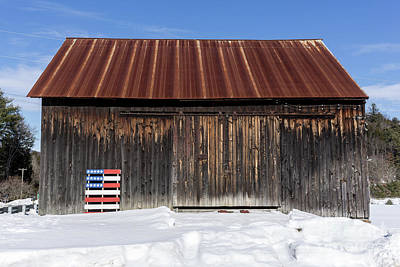 Photograph - Old New England Barn With American Flag Pallet  by Edward Fielding