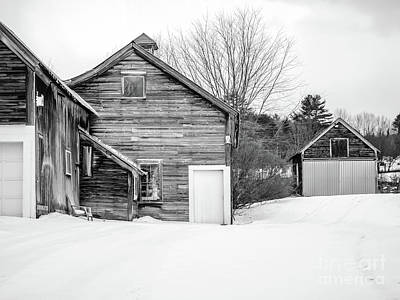 Photograph - Old New England Barns In Winter by Edward Fielding