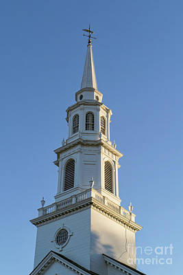 Concord Photograph - Old New England Church Steeple Concord by Edward Fielding