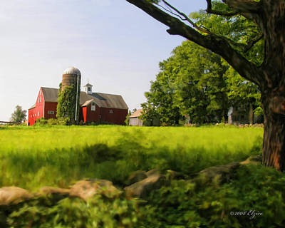 Old Barn Painting - Old New England Farm by Elzire S