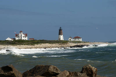 Photograph - Old New England Lighthouse by Barry Doherty