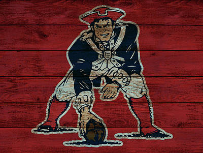 Old Panelled Door Painting - Old New England Patriots Wood Panel by Dan Sproul