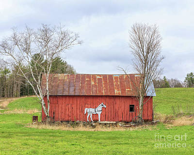 Old New England Red Horse Barn Art Print by Edward Fielding