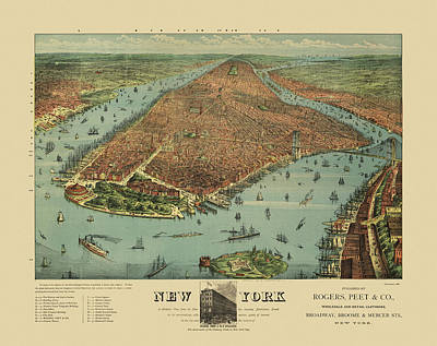 City Scenes Drawing - Old New York City Map By Currier And Ives - 1879 by Blue Monocle