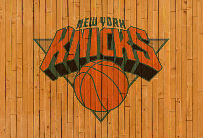 Knicks Mixed Media - Old New York Knicks Basketball Gym Floor by Design Turnpike