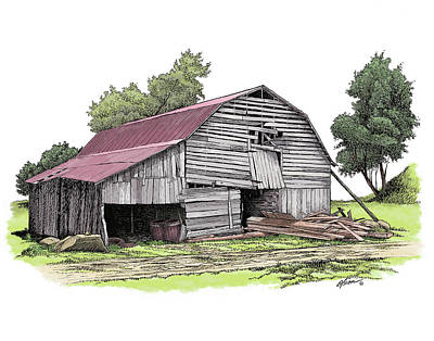 Old Barn Drawing - Old North Carolina Barn by Dave Olson