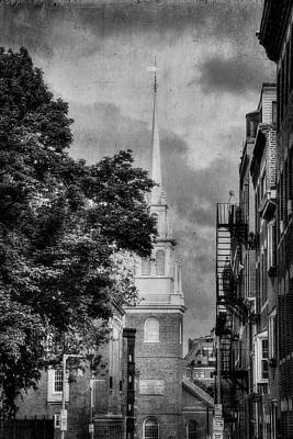 Photograph - Old North Church Black And White - North End - Botson by Joann Vitali