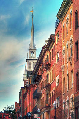 Photograph - Old North Church - Boston North End by Joann Vitali