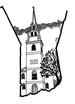 Old Lamp Drawing - Old North Church by Rich Brumfield