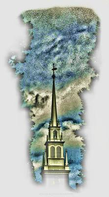 Digital Art - Old North Church Steeple by Vince Green