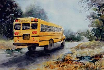 School Bus Painting - Old Number Three by Virginia Potter