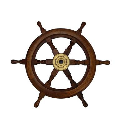 Photograph - Old Oak Steering Wheel For Boats And Ships by Tom Conway