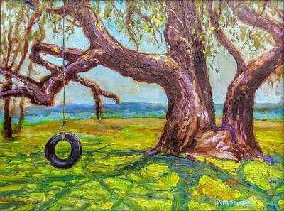 Mike Martin Painting - Old Oak Swing by Mike Martin