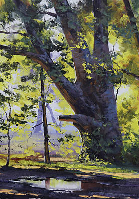 Paintings - Old Oak tree by Graham Gercken