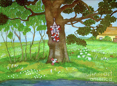 Polscy Malarze Painting - Old Oak Tree With A Roadside Shrine by Anna Folkartanna Maciejewska-Dyba