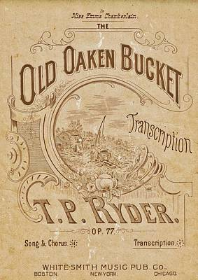 Music Royalty-Free and Rights-Managed Images - Old Oaken Bucket Sheet Music Cover by Southern Tradition