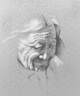 Oil Portrait Drawing - Old One by Robert Martinez