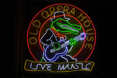 Photograph - Old Opera House Neon Sign by Garry Gay
